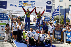 Podium: winners Mikko Hirvonen and Jarmo Lehtinen, Ford Focus RS WRC08, BP Ford Abu Dhabi World Rall