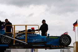 Karun Chandhok car is loaded onto the truck