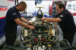Roldan Rodriguez car is worked on