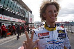 Romain Grosjean celebrates his pole position