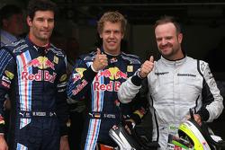 Le poleman Sebastian Vettel, Red Bull Racing, seconde place pour Rubens Barrichello, Brawn GP, trois