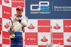 Alberto Valerio celebrates his victory on the podium
