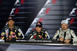 Conférence de presse : le vainqueur Sebastian Vettel, Red Bull Racing, seconde place Mark Webber, Red Bull Racing, troisième place Rubens Barrichello, Brawn GP
