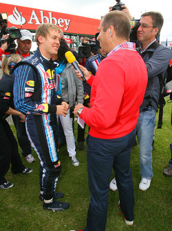 Sebastian Vettel, Red Bull Racing being interviewed by Kai Ebel, RTL TV