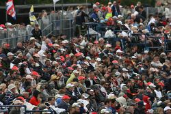 The fans watch the race action
