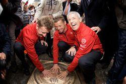 Hand imprint ceremony: 2008 winners Allan McNish, Tom Kristensen and Rinaldo Capello