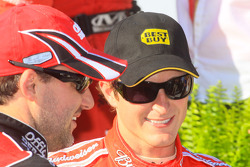 Victory lane: race winner Kasey Kahne, Richard Petty Motorsports Dodge celebrates with Tony Stewart, Stewart-Haas Racing Chevrolet