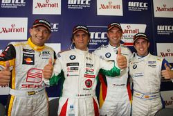 Conférence de presse de la course 1, Gabriele Tarquini, Seat Sport, Alex Zanardi, BMW Team Italy-Spain, Jorg Muller, BMW Team Germany et Felix Porteiro, Scuderia Proteam Motorsport