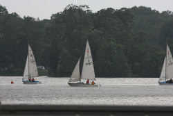 Sailboats in heavy rain on the Duzendteich