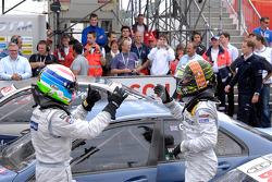 Race winner Jamie Green, Persson Motorsport, AMG Mercedes C-Klasse celebrates with Bruno Spengler, T