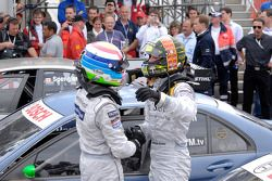 Le vainqueur Jamie Green, Persson Motorsport, AMG Mercedes C-Klasse célèbre avec Bruno Spengler, Team HWA AG, AMG Mercedes C-Klasse