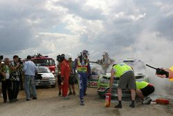 Jari-Matti Latvala et Miikka Anttila, Ford Focus RS WRC08, BP Ford Abu Dhabi World Rally Team se crashent à la dernière spéciale