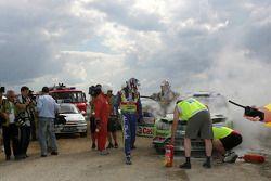 Jari-Matti Latvala and Miikka Anttila, Ford Focus RS WRC08, BP Ford Abu Dhabi World Rally Team crash in the final stage