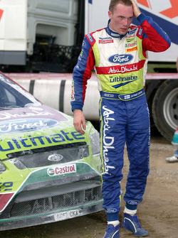Jari-Matti Latvala, Ford Focus RS WRC08, BP Ford Abu Dhabi World Rally Team crashes in the final sta