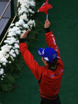 GT500 podium: class and overall winner Hironobu Yasuda