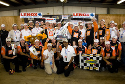 Victory lane: race winner Joey Logano, Joe Gibbs Racing Toyota, celebrates with crew chief Greg Zipadelli and his team