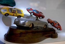 Porsche miniature cars on display