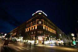 Stuttgart by night: city scene, corner Königstrasse and Bolzstrasse
