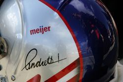 Marco Andretti's reflection on his helmet