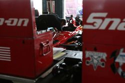 A mechanic working on the #02 Newman/Hass/Lonigan car of Graham Rahal