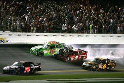 Kyle Busch, Joe Gibbs Racing Toyota is hit by Kasey Kahne, Richard Petty Motorsports Dodge after crashing with Tony Stewart, Stewart-Haas Racing Chevrolet