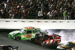 Kyle Busch, Joe Gibbs Racing Toyota is hit by Kasey Kahne, Richard Petty Motorsports Dodge after cra