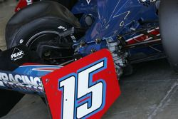 Paul Tracy's KV Racing car in the garage after an accident
