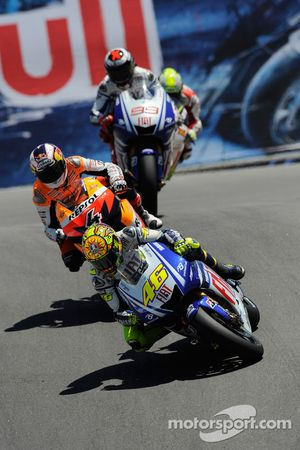 Valentino Rossi, Fiat Yamaha Team, Andrea Dovizioso, Repsol Honda Team, Jorge Lorenzo, Fiat Yamaha T