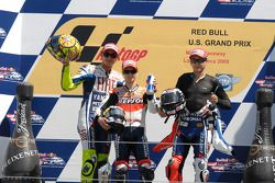 Podium: race winner Dani Pedrosa, Repsol Honda Team, second place Valentino Rossi, Fiat Yamaha Team, third place Jorge Lorenzo, Fiat Yamaha Team