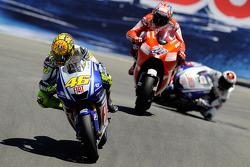 Valentino Rossi, Yamaha; Casey Stoner, Ducati; Jorge Lorenzo, Yamaha