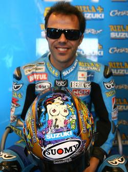 Loris Capirossi, Rizla Suzuki MotoGP with his new helmet design