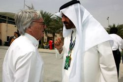 FIA's Vice-President for sport and 14-time Middle East Rally Champion Mohamed Ben Sulayem with the president and CEO of FOM Bernie Ecclestone