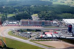 Aerial views of the Nurburgring and the new development and facilities around it and the dorint hote