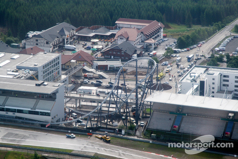 Aerial views of the Nurburgring and the new development and facilities around it and the rollercoaster