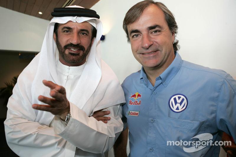 Conférence de presse : le Vice-Président de la FIA pour le sport et le pilote 14 fois champion Middle East RallyMohamed Ben Sulayem avec Carlos Sainz