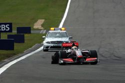 Lewis Hamilton, McLaren Mercedes with his damaged rear tyre