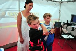 Mika Hakkinen and his son Hugo karting, Erja Hakkinen ex wife
