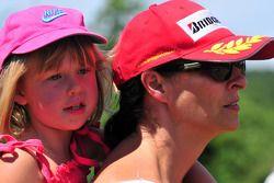 Mika Hakkinen and his son Hugo karting, Erja Hakkinen ex wife of Mika watching