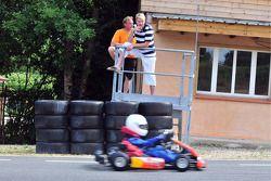 Mika Hakkinen and his son Hugo karting