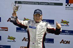 Podium celebrations: race winner Renger van der Zande