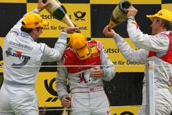 Podium, Oliver Jarvis, Audi Sport Team Phoenix, getting a champaign shower from Gary Paffett, Team H