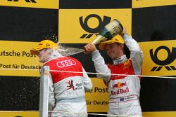 Podium, Mattias Ekström, Audi Sport Team Abt, giving a champaign shower to Oliver Jarvis, Audi Spor