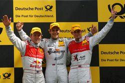 Podium, Gary Paffett, Team HWA AMG Mercedes, Mattias Ekström, Audi Sport Team Abt, Oliver Jarvis, Audi Sport Team Phoenix
