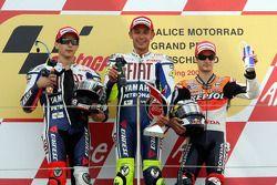 Podium: race winner Valentino Rossi, Fiat Yamaha Team, second place Jorge Lorenzo, Fiat Yamaha Team,