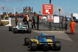 Formula Two cars access the pitlane before qualifying