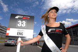 The grid girl for race 1 winner Philipp Eng