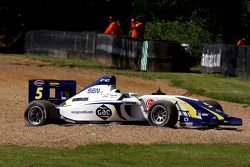 The car of Alex Brundle in the gravel trap
