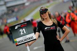 Formula Two grid girl for Kazim Vasiliauskas