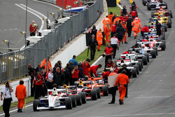 The race was red flagged early on due to rain