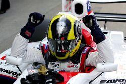 Race 2 winner Andy Soucek celebrates